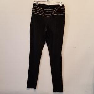 Bebe Zip Back Black Leggings Size S VGC